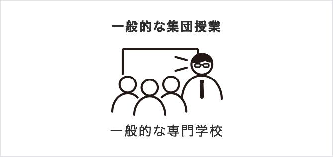 一般的な情報処理の専門学校 一般的な集団授業